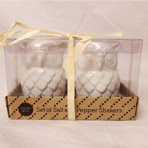 Owl White Ceramic Salt and Pepper Set
